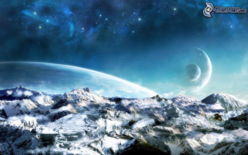 montagnes enneigées, planètes, étoiles