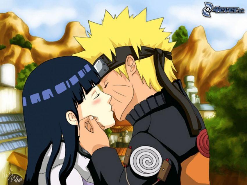 Naruto, anime couple, baiser
