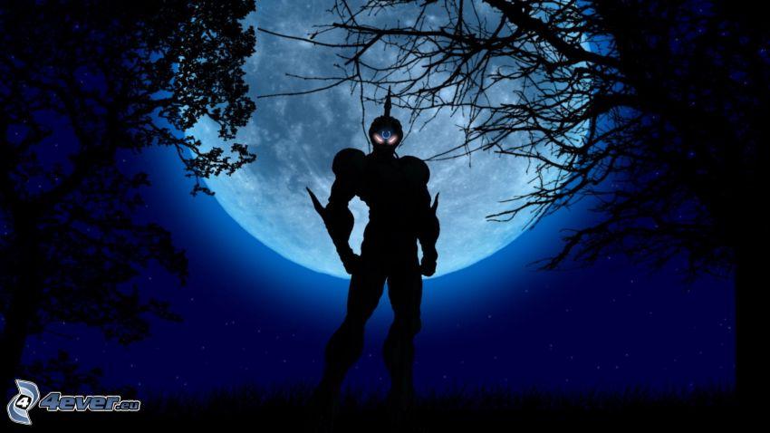 anime guerrier, lune, nuit, silhouettes d'arbres