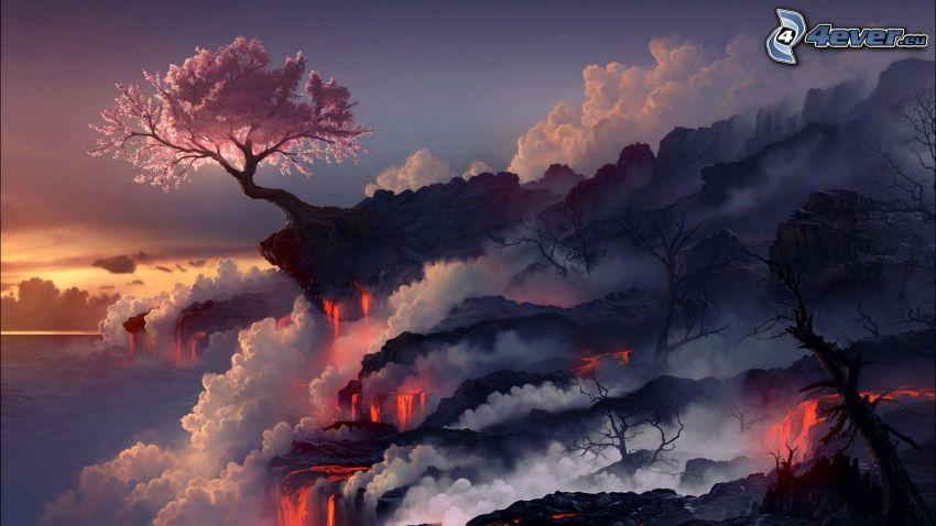 arbre rose, brouillard au sol, lave, rochers