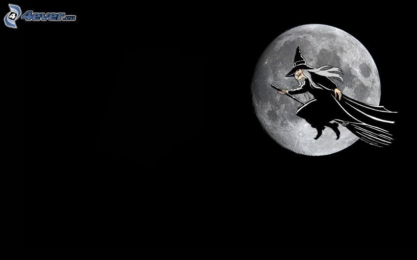 sorcière sur un balai, sorcière, lune pleine