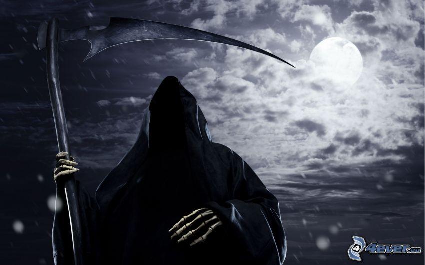 tête de mort, faux, nuit, lune