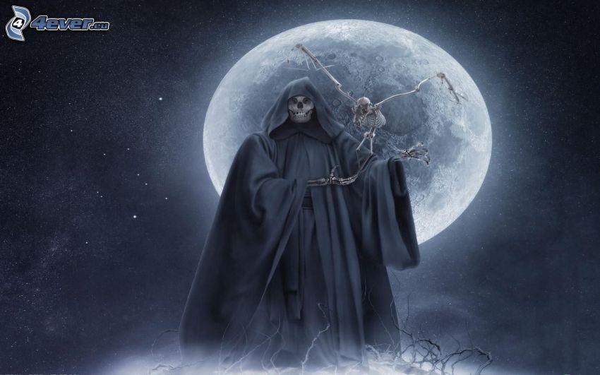 tête de mort, lune, nuit