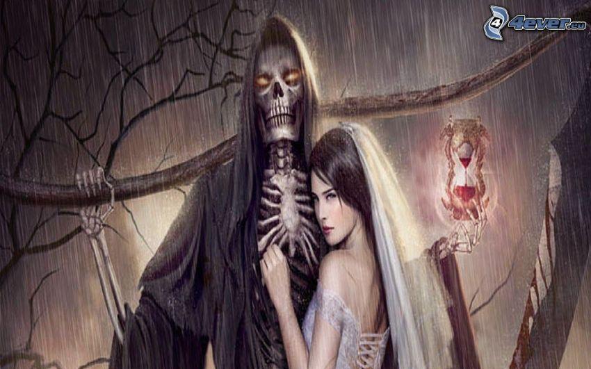 tête de mort, mariée, sablier, pluie