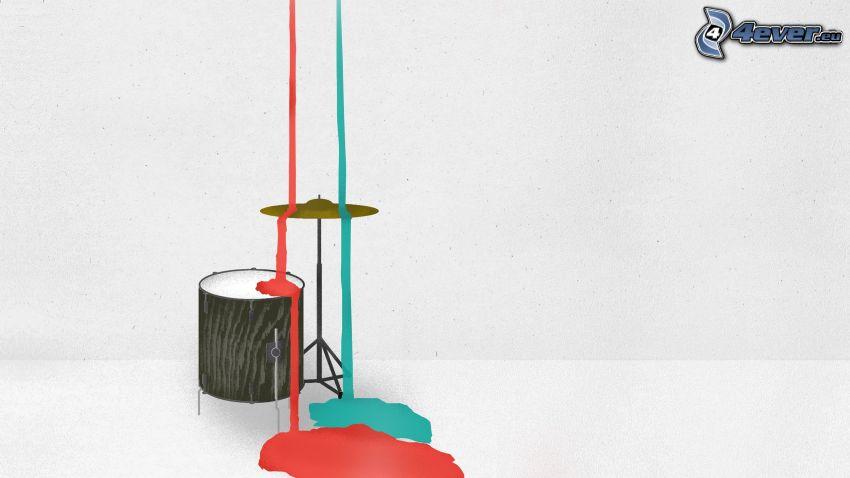 Batterie, cymbale, couleurs