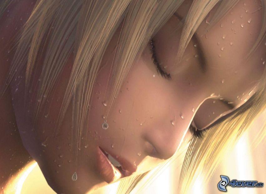 belle femme visage, blonde, femme dessiné, gouttes d'eau