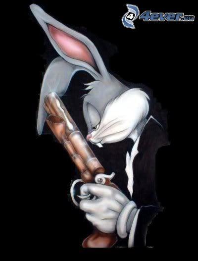 Bugs Bunny, gangster, arme, lapin desinné