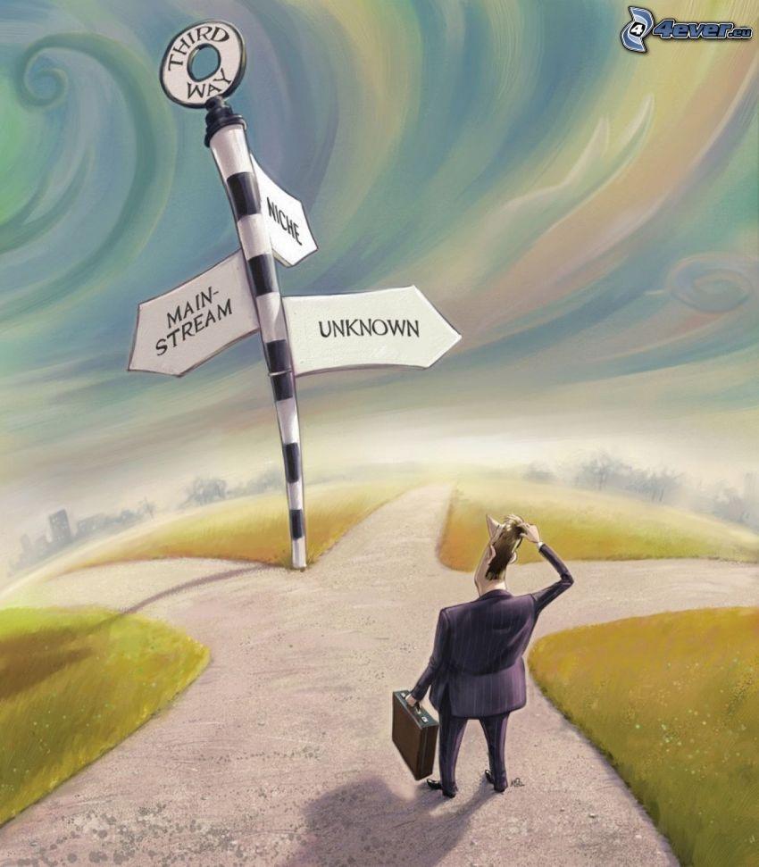 carrefour, route, panneaux de signalisation, caractère, homme en costume