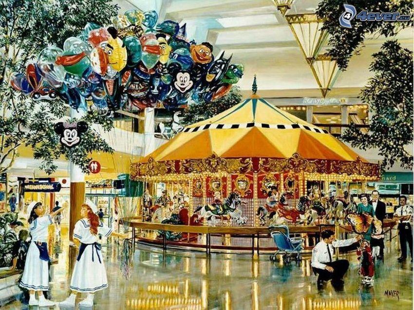 carrousel, ballon, enfants, gens