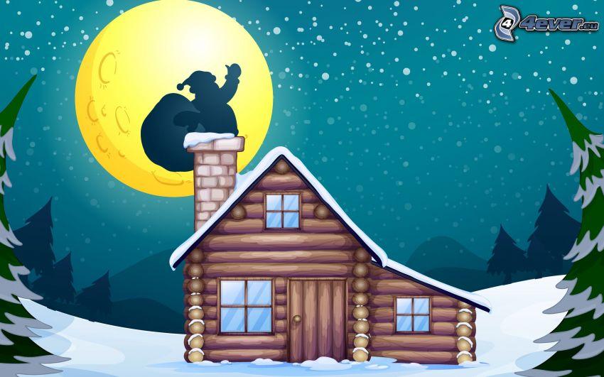 chalet, Santa Claus, cheminée, lune