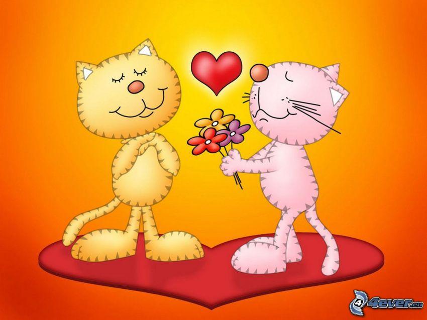 chats dessinés, fleurs, cœur, amour