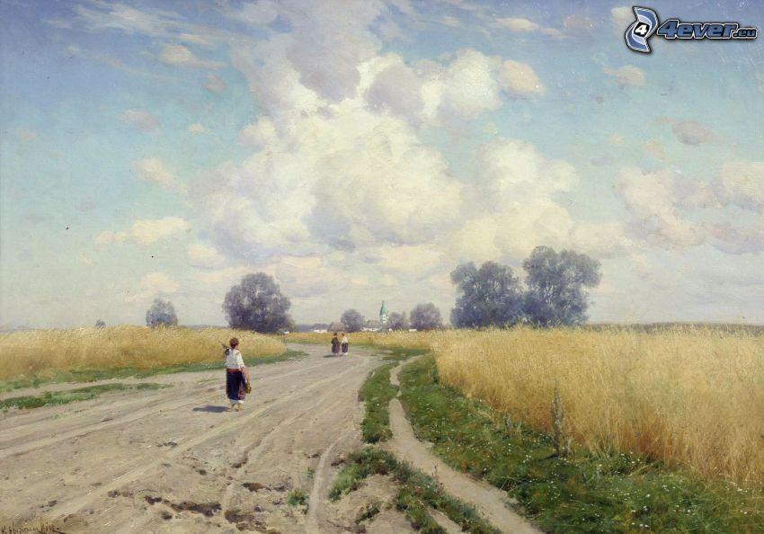 chemin de campagne, enfants, ciel, nuages, champ