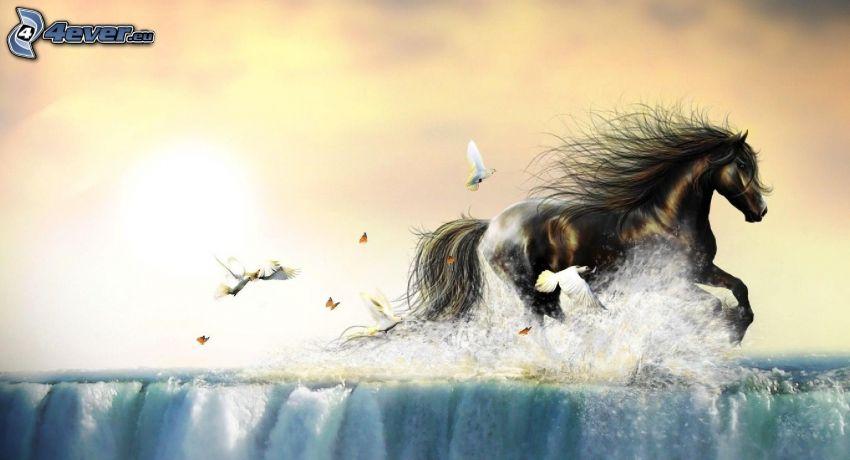 cheval brun, oiseaux, eau, papillons