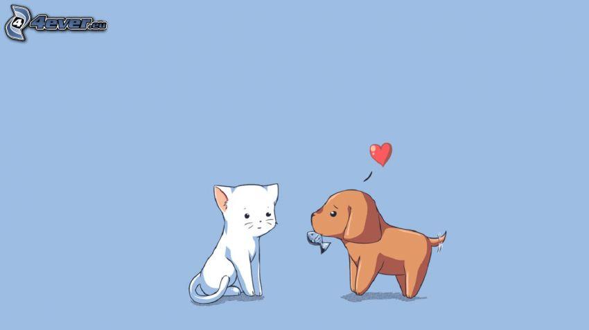 chien et chat, cœur