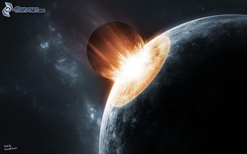 collision en espace, planètes, étincelles