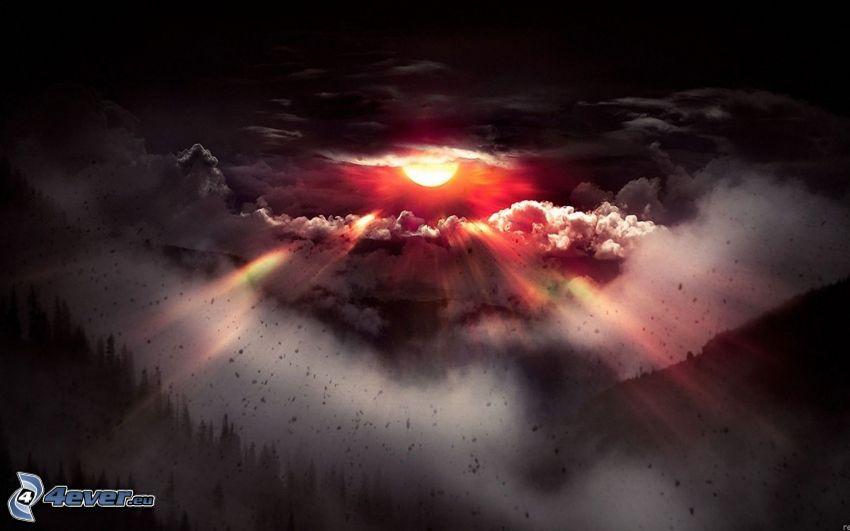 coucher du soleil sombre, nuages, rayons du soleil