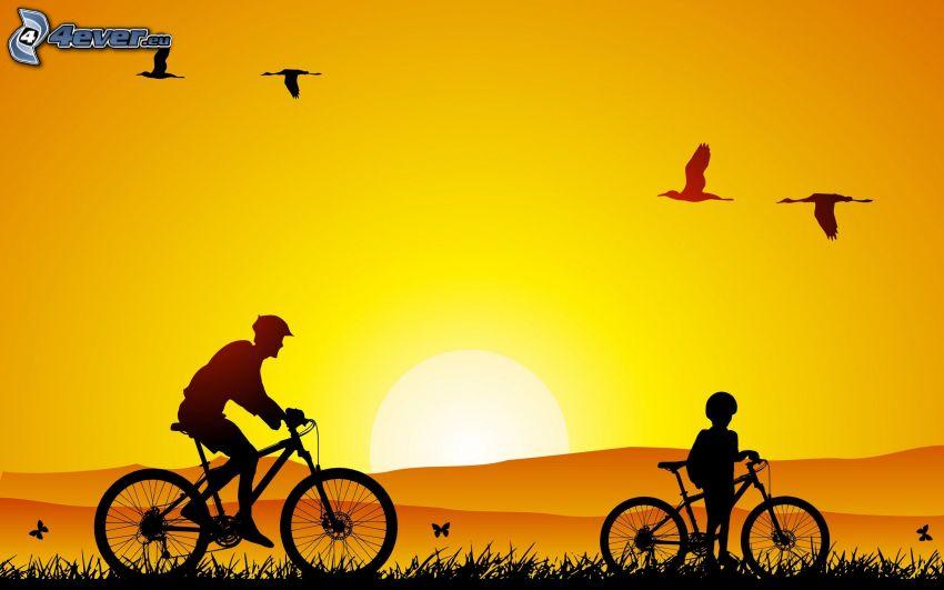 cyclistes, coucher du soleil orange, silhouettes
