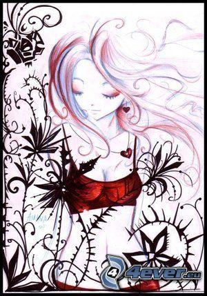 dessin animé, amour, tristesse, fleurs