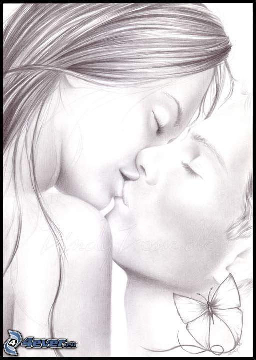 baiser, couple dessiné, amour, dessin