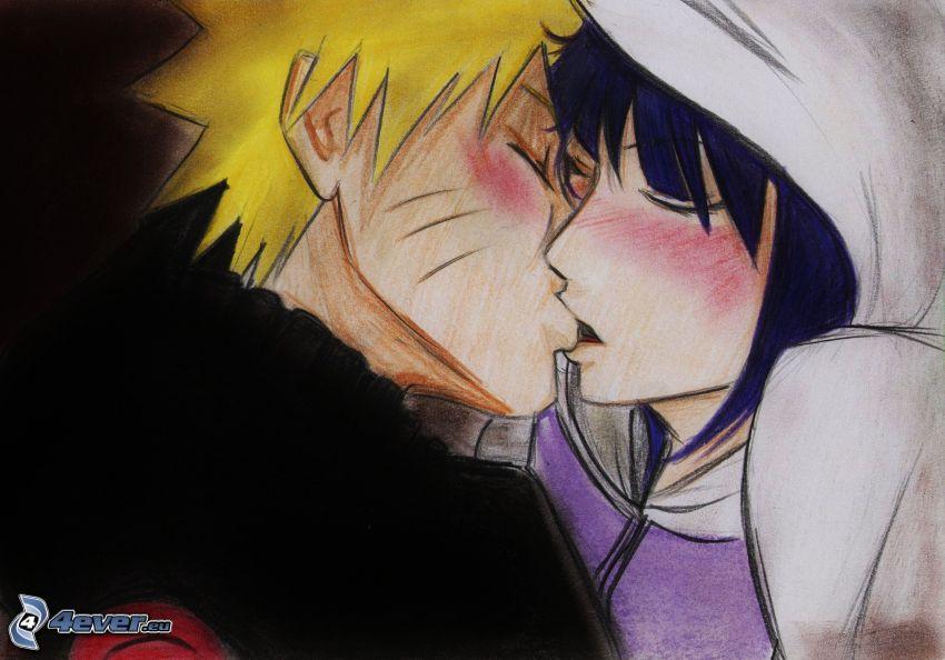couple dessiné, baiser