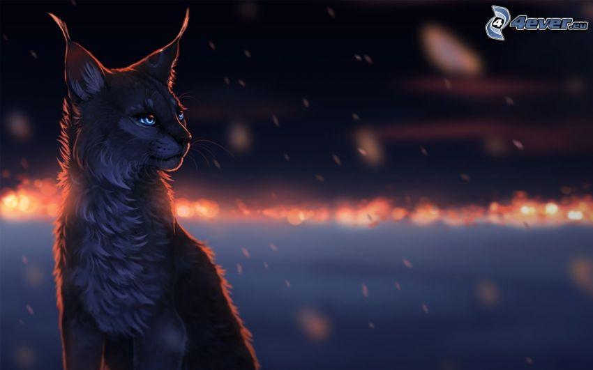 lynx, regard, yeux bleus