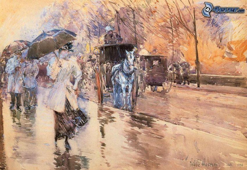 peinture, gens, calèche, cheval blanc, pluie