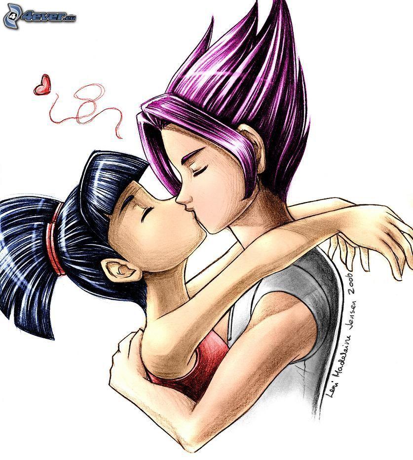 Riven, Musa, couple dans une étreinte, baiser