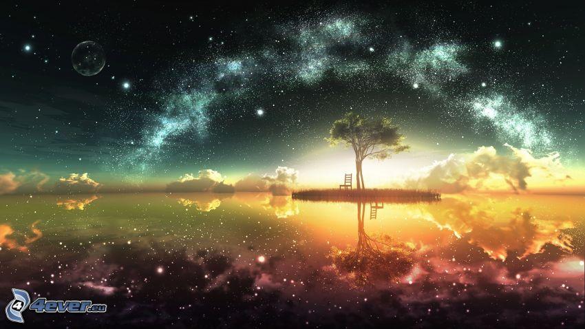 arbre solitaire, chaise, lac, ciel étoilé, Voie lactée, lune, étoiles