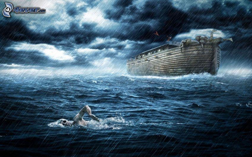 Arche de Noé, nageur, pluie, nuages d'orage, éléphants, girafes