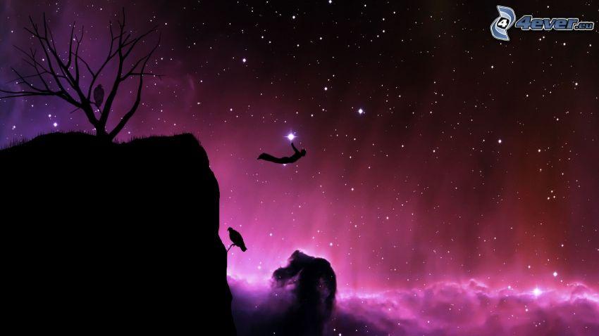 BASE Jump, saut, univers, silhouettes