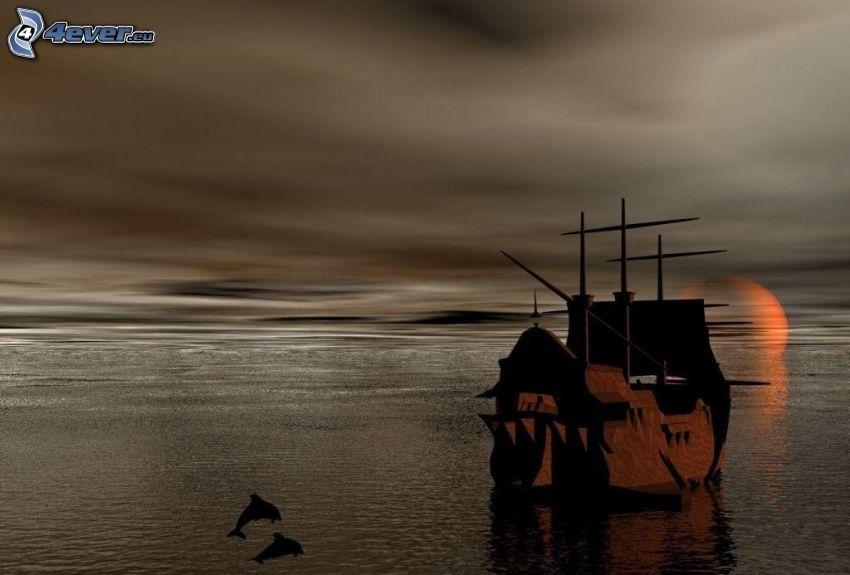 bateau à voile, mer, dauphins