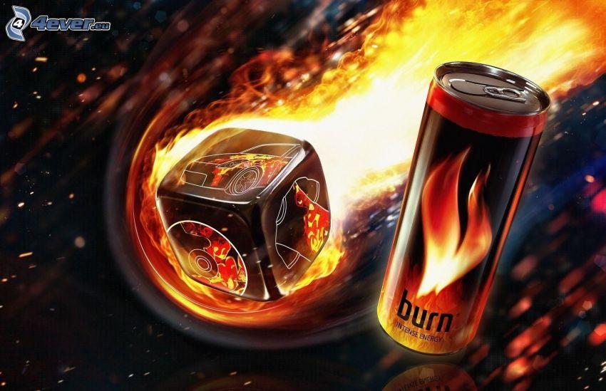 boite, cube, feu