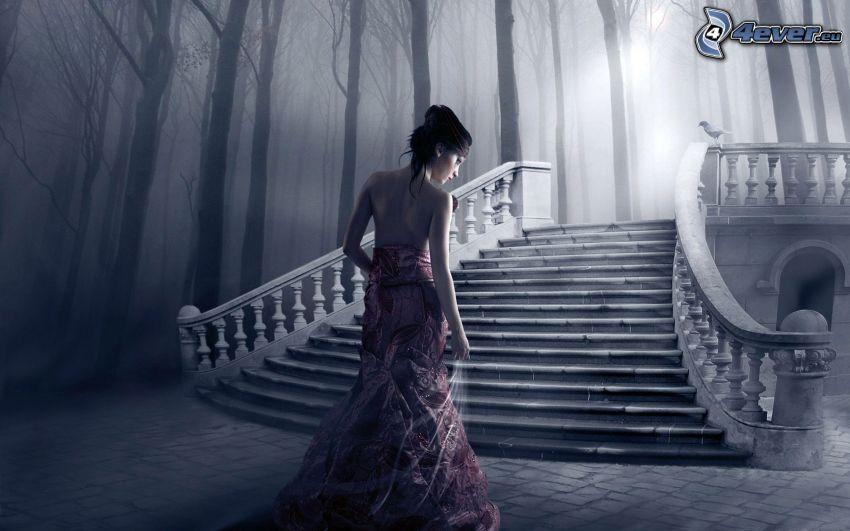 brune, femme, escalier historique, forêt