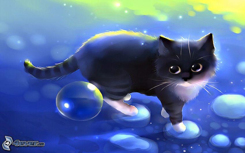 chat noir, bulles