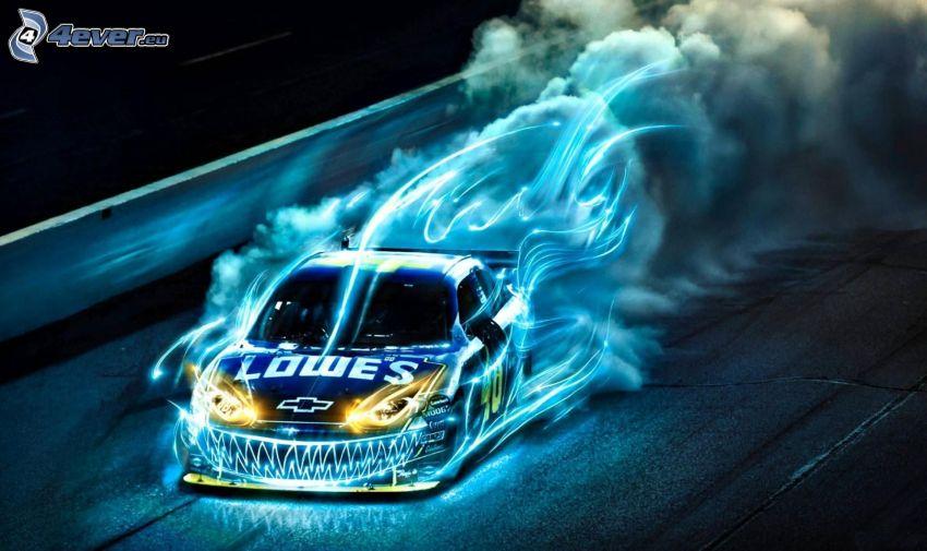 Chevrolet, voiture de dessin animé, drift, fumée, jeu de lumière