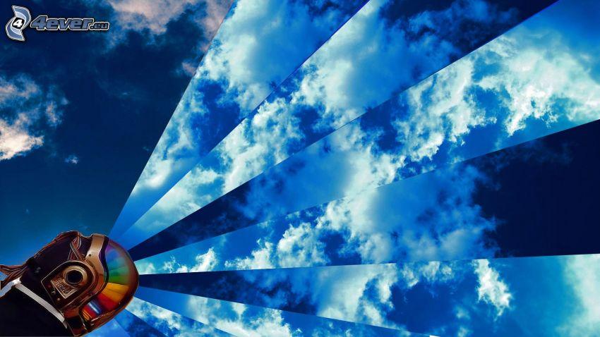 ciel, nuages, tête, casque