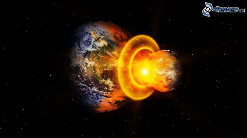 collision en espace, planète Terre, flamme, ciel étoilé