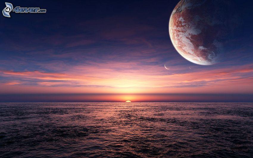 Coucher du soleil à la mer, planète Terre