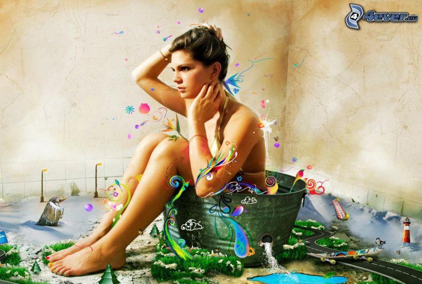 femme en bikini, cuve avec l´eau, l'art numérique
