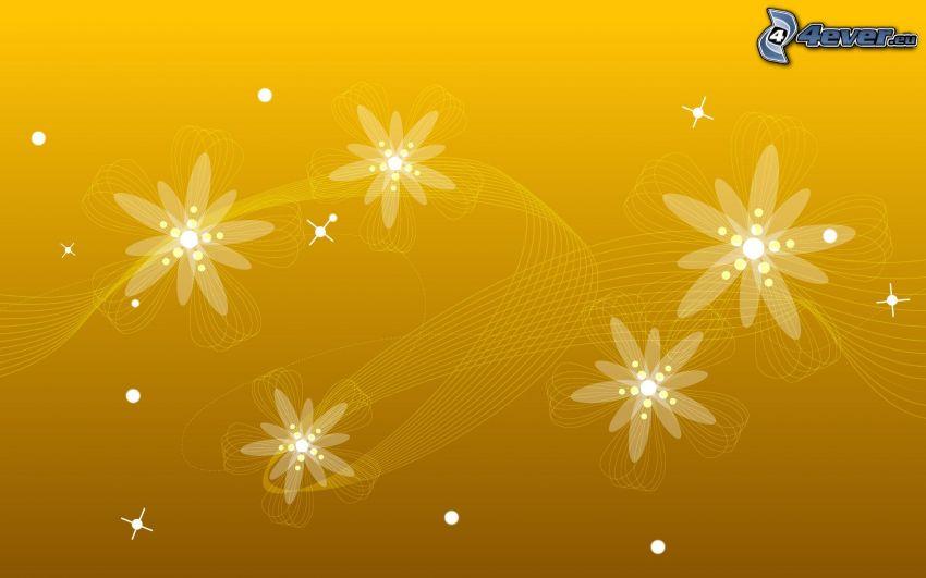fleurs graphiques, fond jaune
