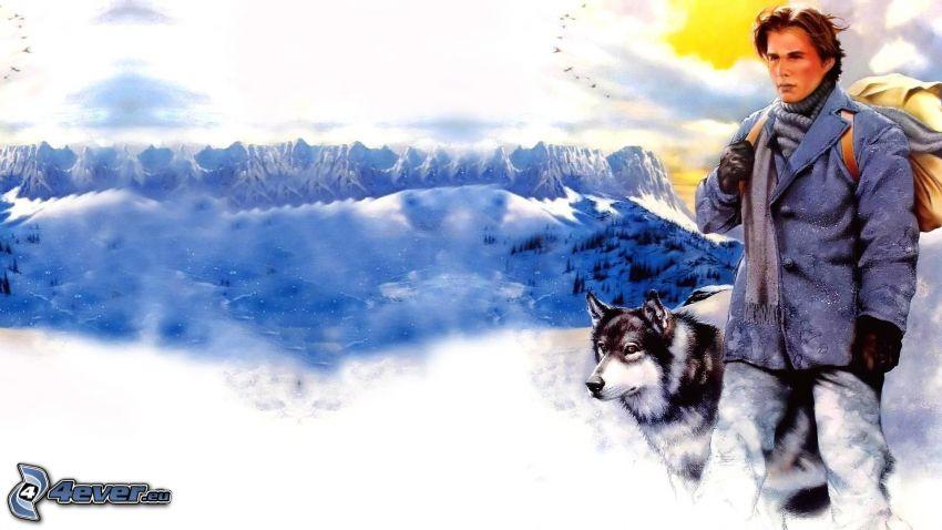 homme avec un chien, montagnes, neige, l'aventure