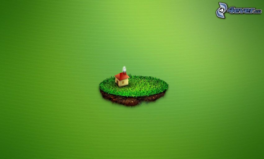 île, maison, fond vert