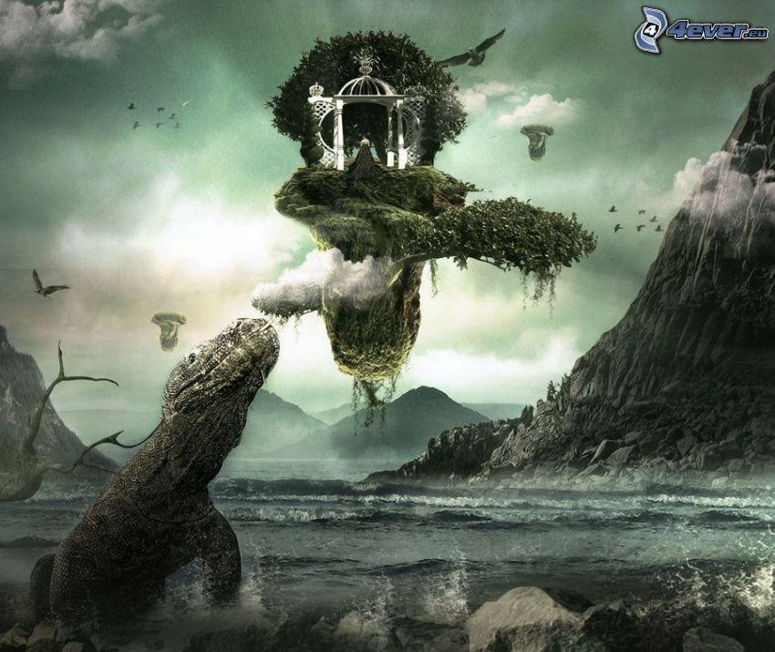 île volant, Dragon de Komodo, rivière, collines