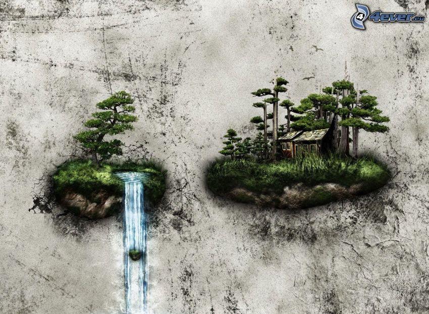 îles, cascade, arbres, mur