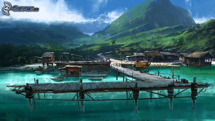 jetée en bois, l'eau bleue, montagne