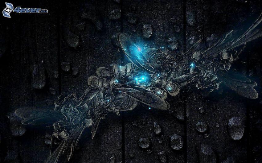 l'art numérique, gouttes d'eau