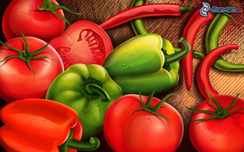 légumes, poivron, tomates