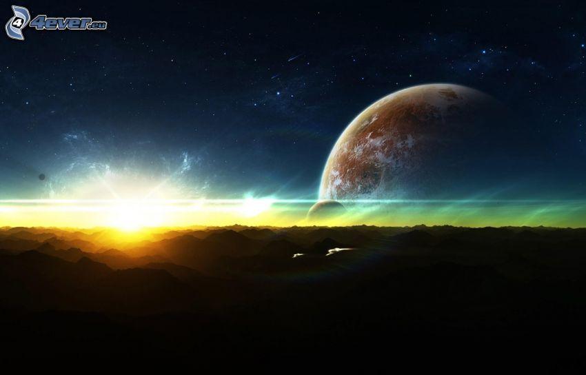 lever du soleil, planètes
