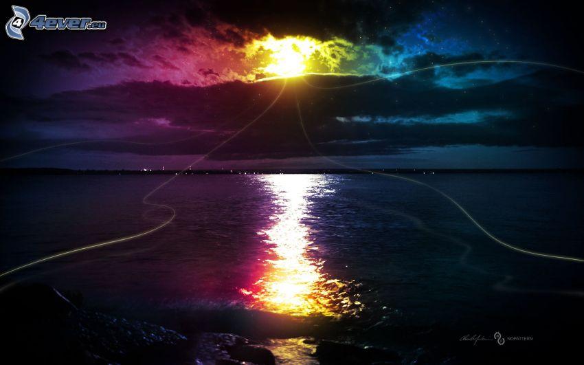 lune, lueur, couleur