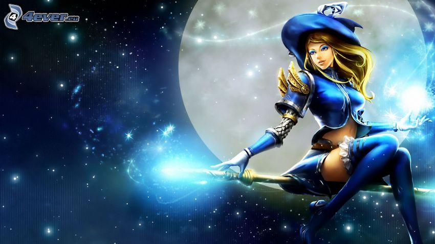 Lux, League of Legends, lune, étoiles, sorcière sur un balai
